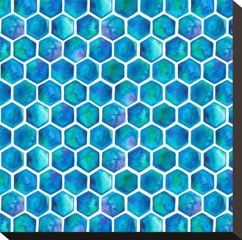 Blue Hexagons-Elena O'Neill-Stretched Canvas Print