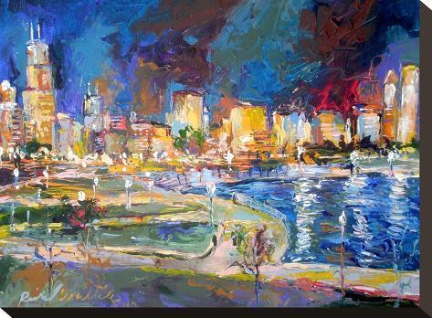 Chicago Lights-Richard Wallich-Stretched Canvas Print