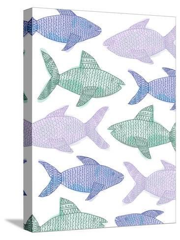 Tribal Fish Pattern Pastel-Jetty Printables-Stretched Canvas Print