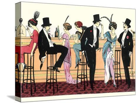 Bar In Brothel 1890-Found Image Press-Stretched Canvas Print