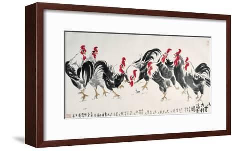 Auspicious Chickens-Guozen Wei-Framed Art Print