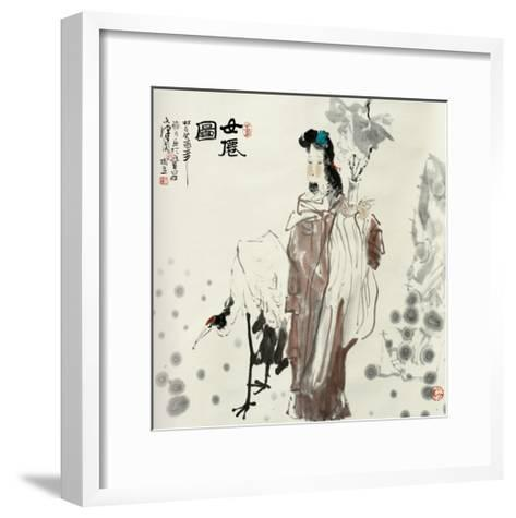 Goddess and Crane-Shuli Wang-Framed Art Print