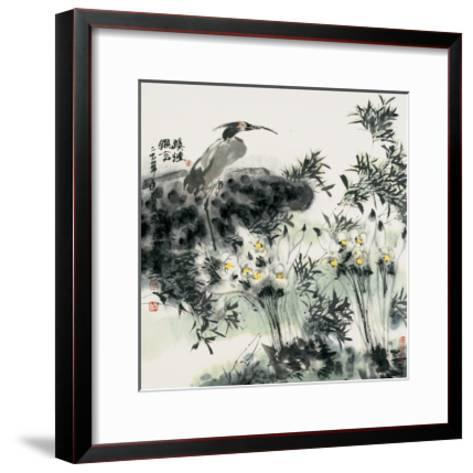 Big Bird and Narcissuses-Wanqi Zhang-Framed Art Print