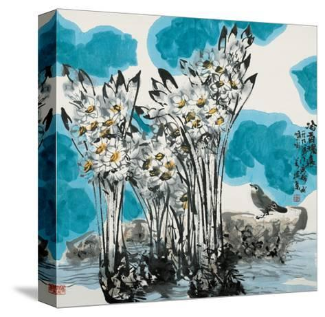 Narcissuses and Bird-Wanqi Zhang-Stretched Canvas Print