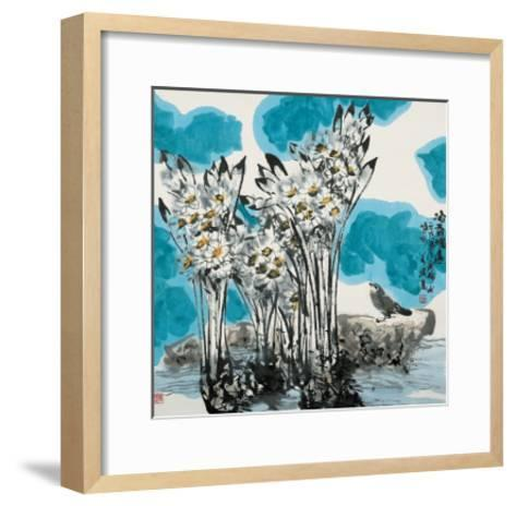 Narcissuses and Bird-Wanqi Zhang-Framed Art Print