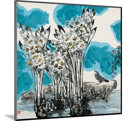 Narcissuses and Bird-Wanqi Zhang-Mounted Giclee Print