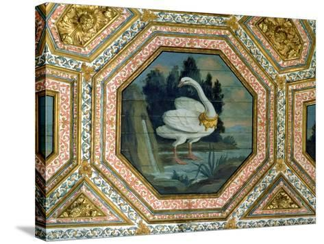 Detail of the Ceiling Decoration in the Salon of the Swans, 15th Century--Stretched Canvas Print