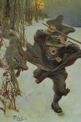 """Once it Chased Doctor Wilkinson into the Very Town Itself, Illustration from """"The Salem Wolf""""-Howard Pyle-Stretched Canvas Print"""