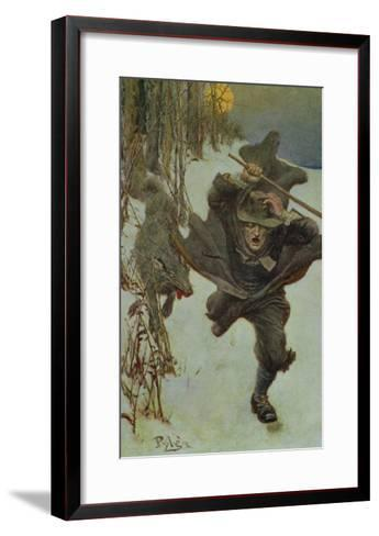 """Once it Chased Doctor Wilkinson into the Very Town Itself, Illustration from """"The Salem Wolf""""-Howard Pyle-Framed Art Print"""
