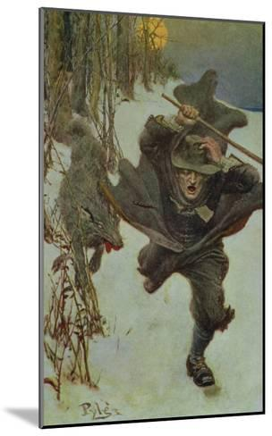 """Once it Chased Doctor Wilkinson into the Very Town Itself, Illustration from """"The Salem Wolf""""-Howard Pyle-Mounted Giclee Print"""