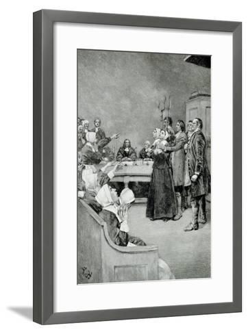 """The Trial of a Witch, from """"Giles Corey, Yeoman"""" by Mary E. Wilkins, Pub. in Harper's Magazine-Howard Pyle-Framed Art Print"""