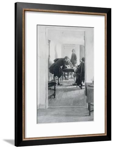 """In the Old Raleigh Tavern, Illustration from """"At Home in Virginia"""" by Woodrow Wilson-Howard Pyle-Framed Art Print"""