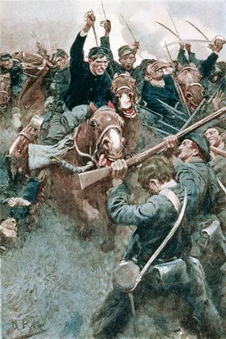 Jackson's Brigade Standing Like a Stone Wall Before the Federal Onslaught at Bull Run-Howard Pyle-Stretched Canvas Print