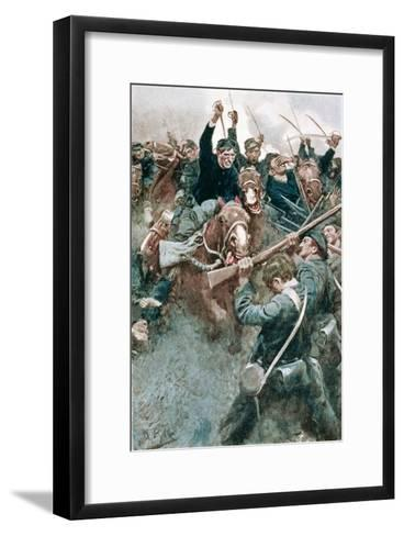 Jackson's Brigade Standing Like a Stone Wall Before the Federal Onslaught at Bull Run-Howard Pyle-Framed Art Print