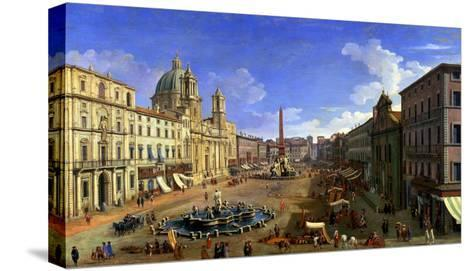 View of the Piazza Navona, Rome-Canaletto-Stretched Canvas Print