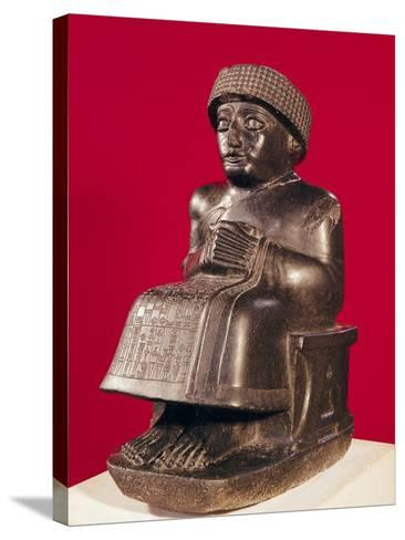 Gudea, Prince of Lagash, Statue to Ningizzada, Neo-Sumerian, from Telloh, Ancient Girsu, c. 2130 BC--Stretched Canvas Print