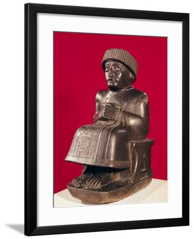 Gudea, Prince of Lagash, Statue to Ningizzada, Neo-Sumerian, from Telloh, Ancient Girsu, c. 2130 BC--Framed Art Print