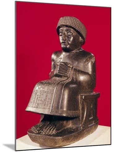 Gudea, Prince of Lagash, Statue to Ningizzada, Neo-Sumerian, from Telloh, Ancient Girsu, c. 2130 BC--Mounted Giclee Print
