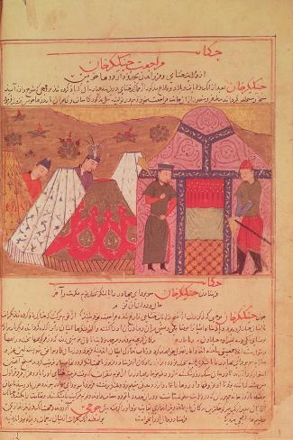Genghis Khan Outside His Tent, from a Book by Rashid Ad-Din (1247-1318)--Stretched Canvas Print