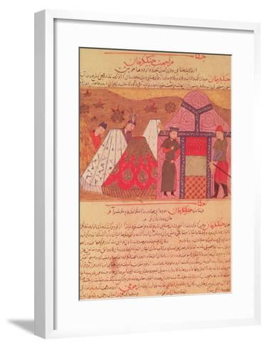 Genghis Khan Outside His Tent, from a Book by Rashid Ad-Din (1247-1318)--Framed Art Print