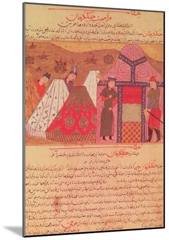 Genghis Khan Outside His Tent, from a Book by Rashid Ad-Din (1247-1318)--Mounted Giclee Print