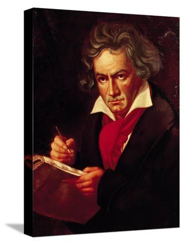 """Ludwig Van Beethoven (1770-1827) Composing His """"Missa Solemnis""""-Joseph Karl Stieler-Stretched Canvas Print"""