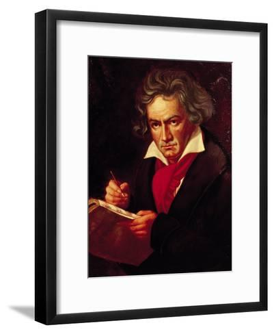 "Ludwig Van Beethoven (1770-1827) Composing His ""Missa Solemnis""-Joseph Karl Stieler-Framed Art Print"