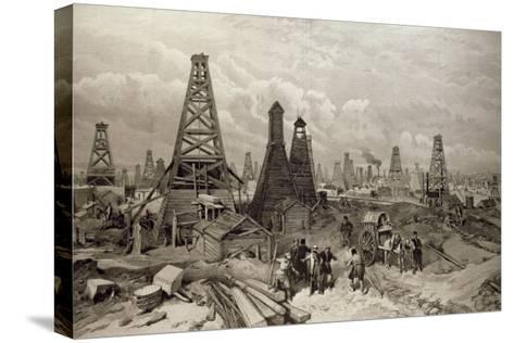 The Petroleum Oil Wells at Baku on the Caspian Sea, 19th June 1886--Stretched Canvas Print