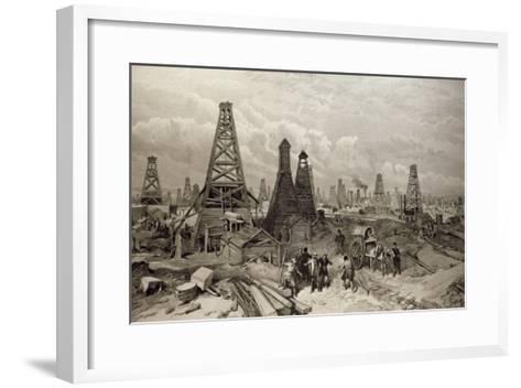 The Petroleum Oil Wells at Baku on the Caspian Sea, 19th June 1886--Framed Art Print