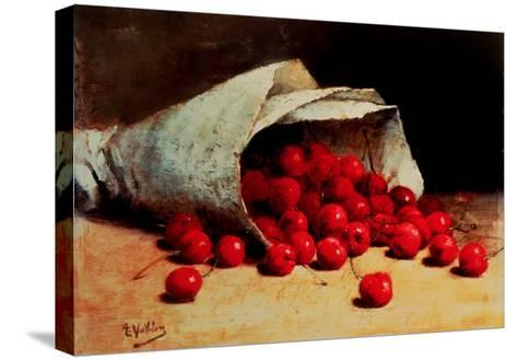 A Spilled Bag of Cherries-Antoine Vollon-Stretched Canvas Print