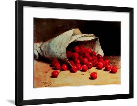 A Spilled Bag of Cherries-Antoine Vollon-Framed Art Print