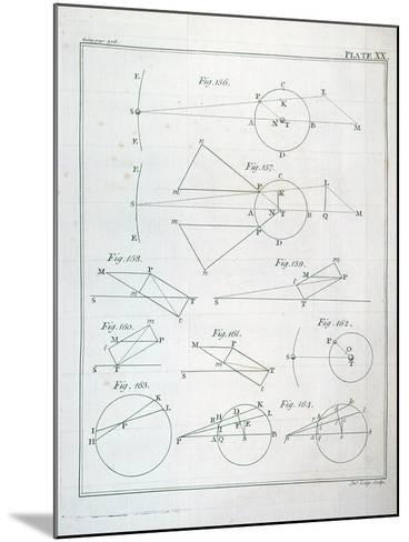"""Plate XX from Volume I of """"The Mathematical Principles of Natural Philosophy"""" by Sir Isaac Newton--Mounted Giclee Print"""