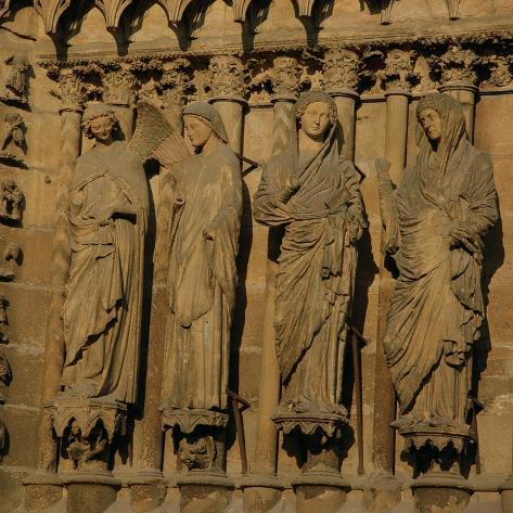 The Visitation, Four Jamb Figures from the West Facade of the Cathedral, circa 1230-40--Stretched Canvas Print