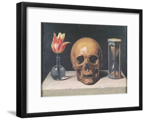 Vanitas Still Life with a Tulip, Skull and Hour-Glass-Philippe De Champaigne-Framed Art Print