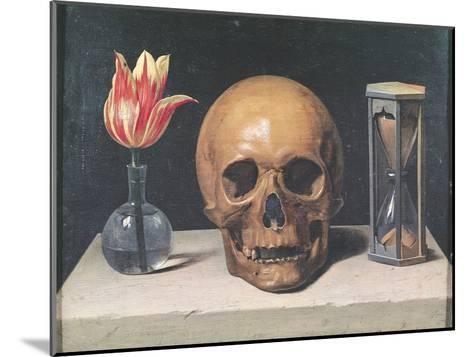 Vanitas Still Life with a Tulip, Skull and Hour-Glass-Philippe De Champaigne-Mounted Giclee Print