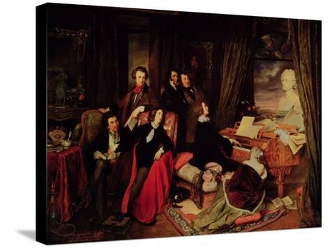 Liszt at the Piano, 1840-Josef Danhauser-Stretched Canvas Print