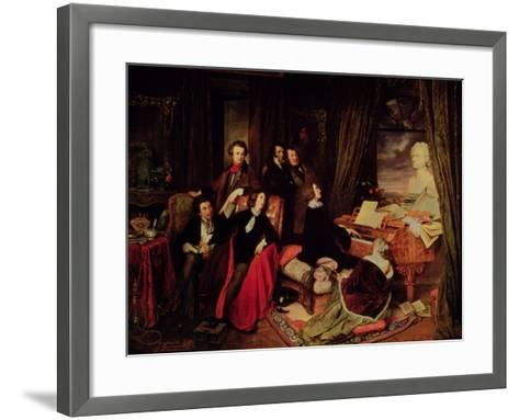 Liszt at the Piano, 1840-Josef Danhauser-Framed Art Print
