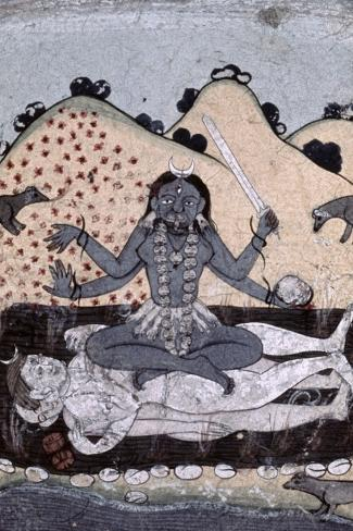 The Goddess Kali Seated in Intercourse with the Double Corpse of Shiva, 19th Century, Punjab--Stretched Canvas Print