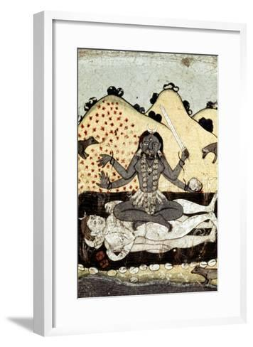 The Goddess Kali Seated in Intercourse with the Double Corpse of Shiva, 19th Century, Punjab--Framed Art Print