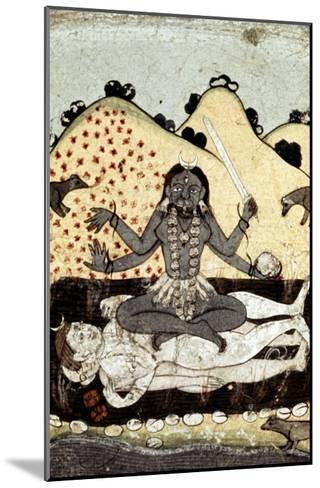 The Goddess Kali Seated in Intercourse with the Double Corpse of Shiva, 19th Century, Punjab--Mounted Giclee Print
