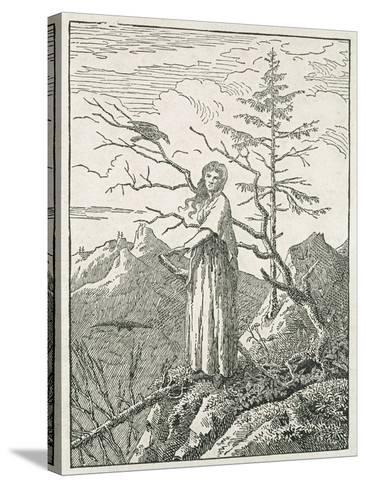 Woman with a Raven, on the Edge of a Precipice-Caspar David Friedrich-Stretched Canvas Print
