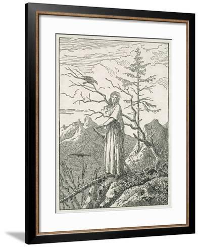 Woman with a Raven, on the Edge of a Precipice-Caspar David Friedrich-Framed Art Print