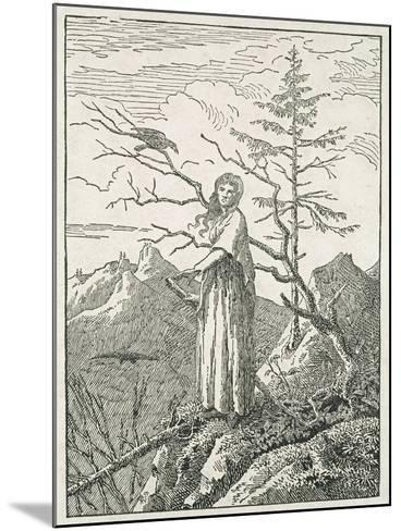 Woman with a Raven, on the Edge of a Precipice-Caspar David Friedrich-Mounted Giclee Print