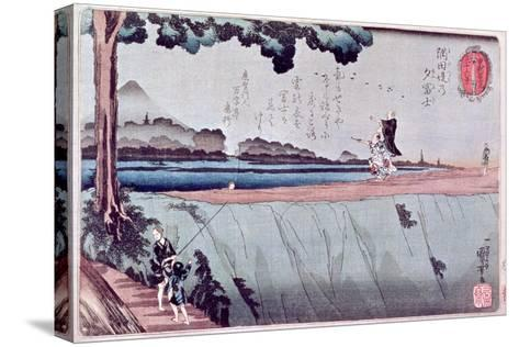 Mount Fuji from the Sumida River Embankment, One of the Views from Edo, circa 1842-Kuniyoshi Utagawa-Stretched Canvas Print