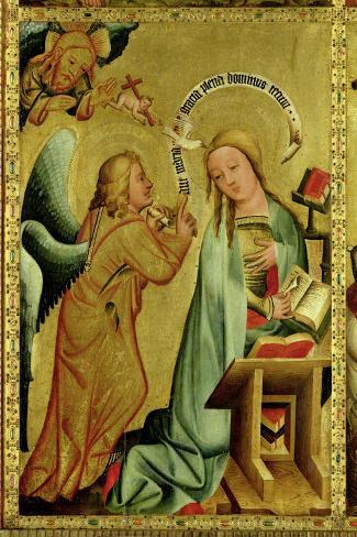 The Annunciation from the High Altar of St. Peter's in Hamburg, the Grabower Altar, 1383-Master Bertram of Minden-Stretched Canvas Print