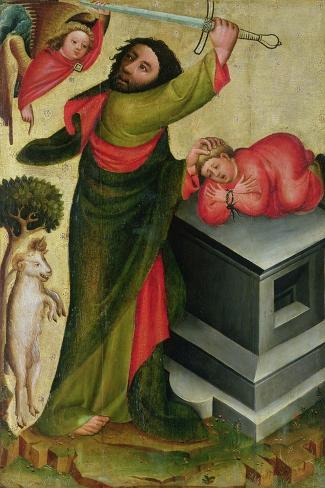 The Sacrifice of Isaac from the High Altar of St. Peter's in Hamburg, the Grabower Altar, 1383-Master Bertram of Minden-Stretched Canvas Print