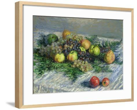 Still Life with Pears and Grapes, 1880-Claude Monet-Framed Art Print