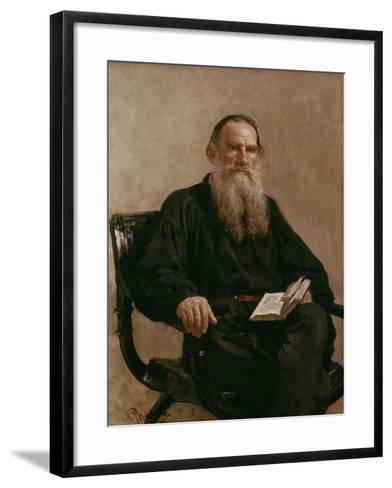 Lev Tolstoy (1828-1810) 1887-Ilya Efimovich Repin-Framed Art Print