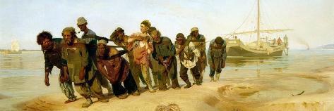 The Boatmen on the Volga, 1870-73-Ilya Efimovich Repin-Stretched Canvas Print
