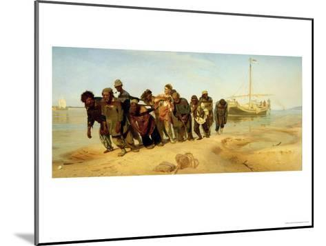 The Boatmen on the Volga, 1870-73-Ilya Efimovich Repin-Mounted Giclee Print